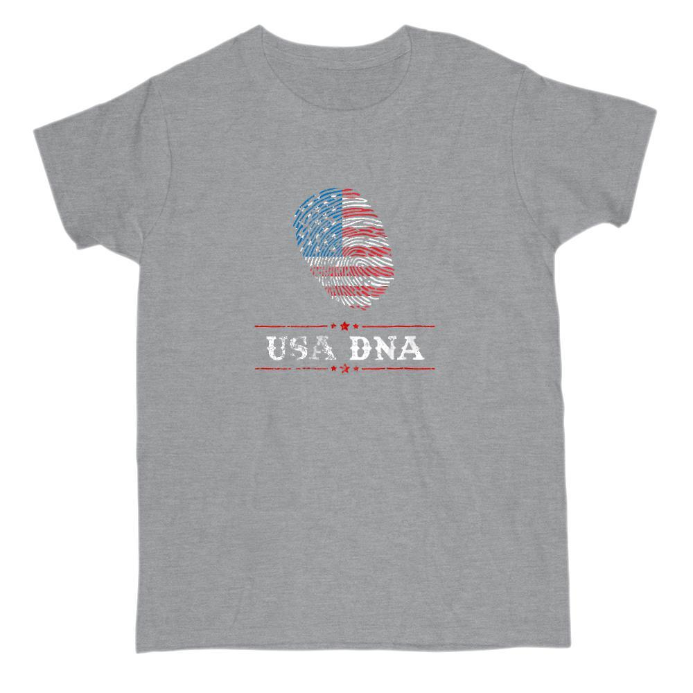 USA DNA Fingerprint Patriotic American Flag T-Shirt Graphic T-Shirt Tee BOXELS