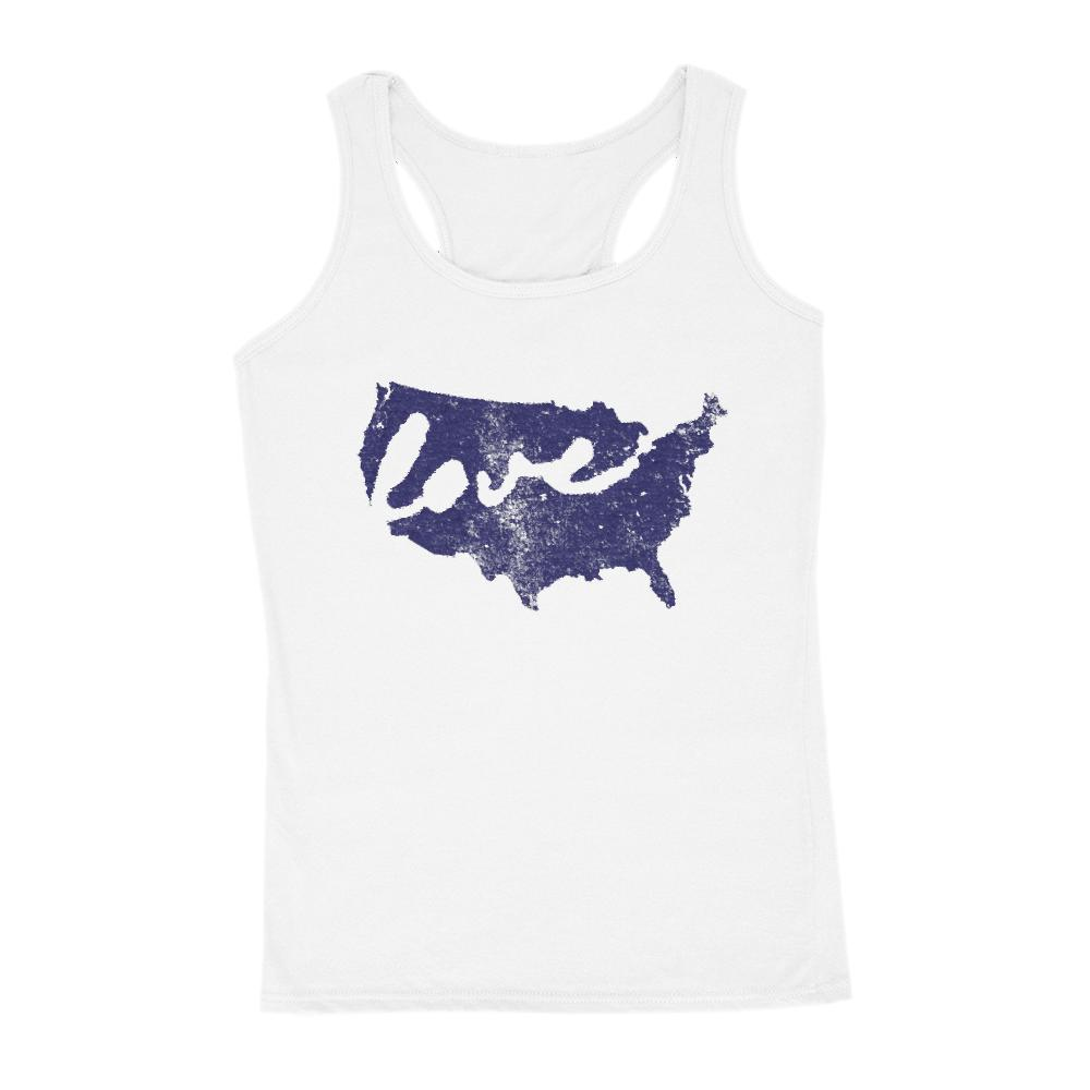 USA Love Map, Blue Grunge (Women's Tank) Patriotic Graphic T-Shirt Tee BOXELS