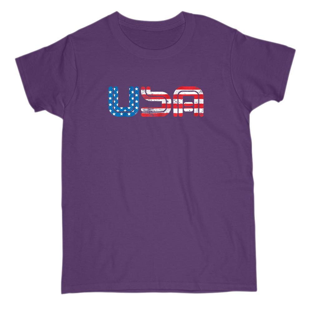 USA (Red White Blue Flag) Graphic Patriotic T-Shirt Graphic T-Shirt Tee BOXELS