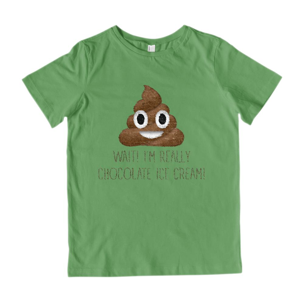 Wait! I'm Really Chocolate Ice Cream! (kids) Poop Emoji Graphic T-Shirt Tee BOXELS
