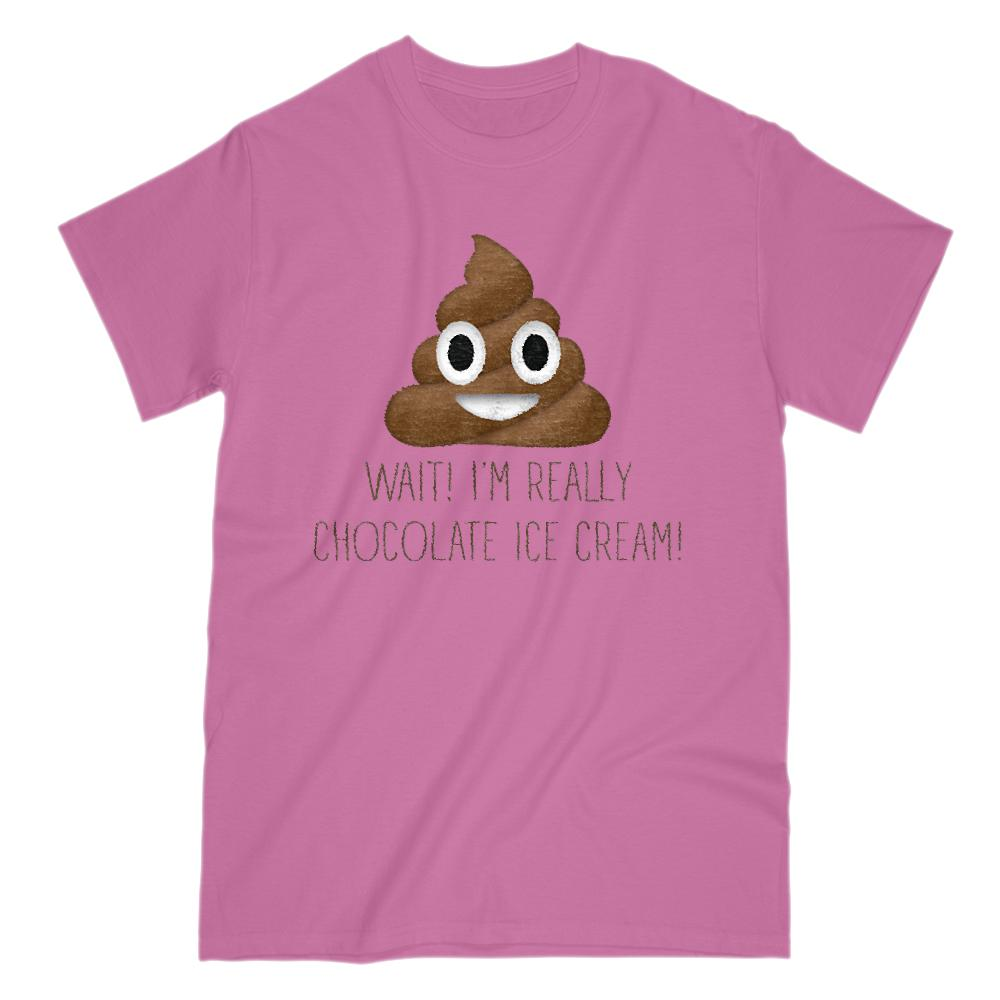 Wait I'm Really Chocolate Ice cream Poop Emoji Graphic T-Shirt Tee BOXELS