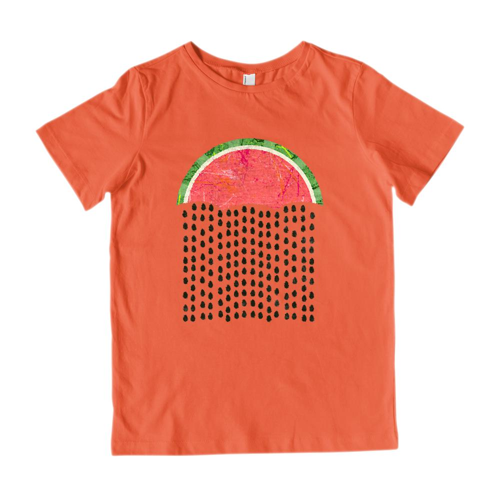 Watermelon Rain (Kids) Cloud Seed Drops Umbrella Graphic T-Shirt Tee BOXELS