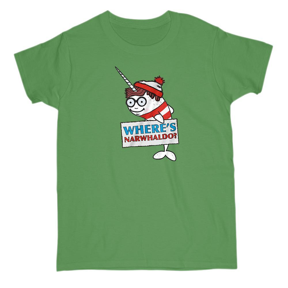 Where's NarWhaldo? Parody Funny Graphic Find the Narwhal Graphic T-Shirt Tee BOXELS