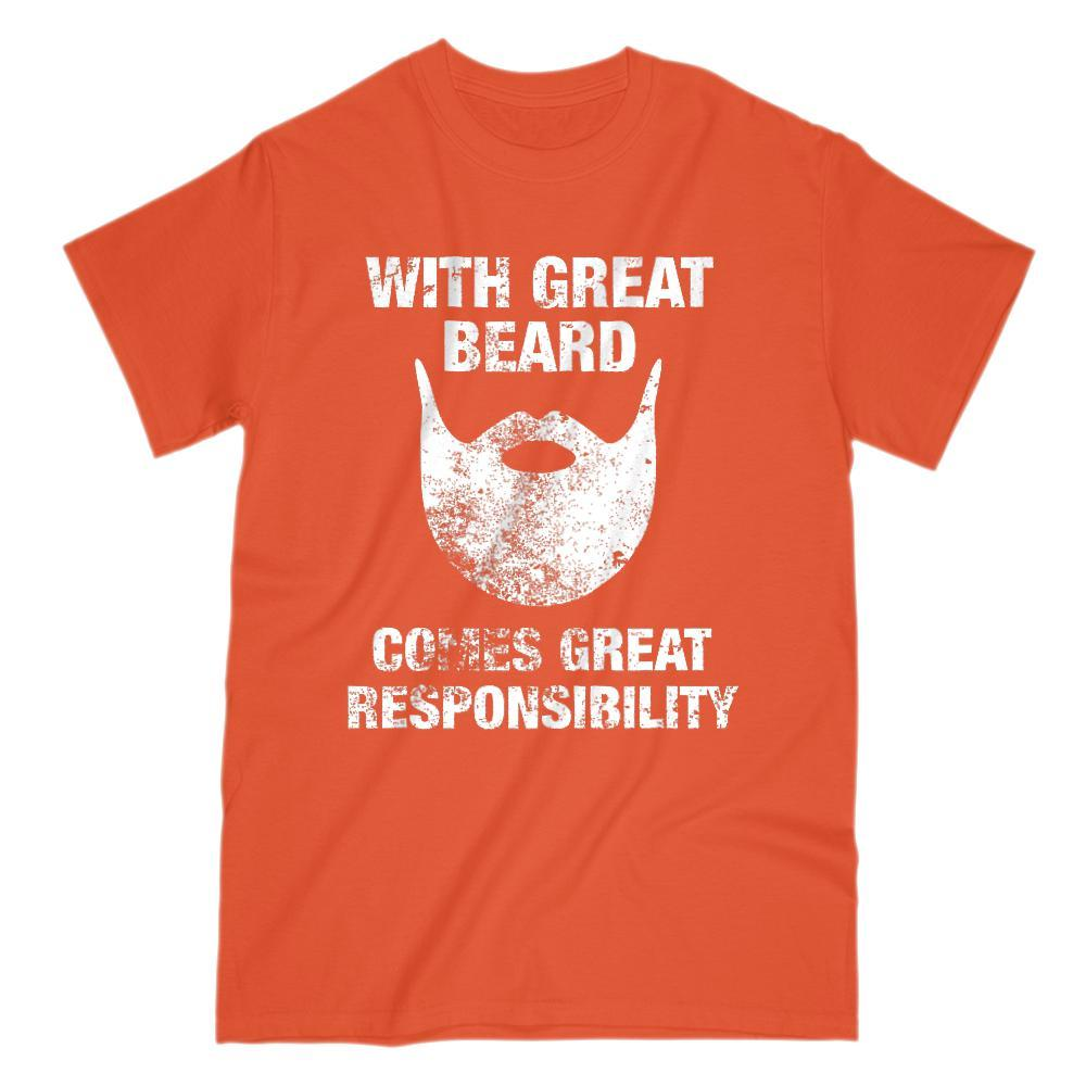 With Great Beard Comes Great Responsibility Graphic Grunge T-Shirt Graphic T-Shirt Tee BOXELS