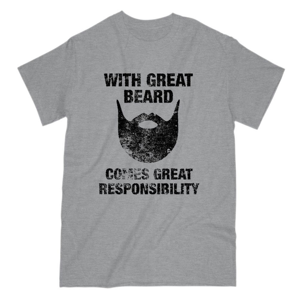 With Great Beard Comes Great Responsibility Graphic Grunge T-Shirt