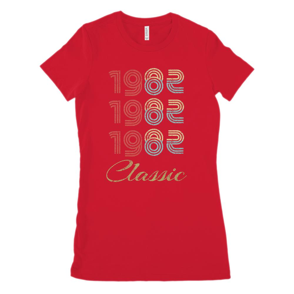 (Women's BC 6004 Soft Tee) 3 Year Classic 1982 Darker Cream Font (Size Up twice Graphic T-Shirt Tee BOXELS