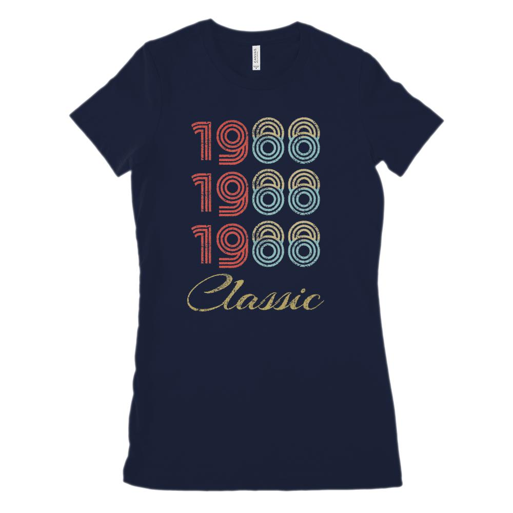 (Women's BC 6004 Soft Tee) 3 Year Classic 1988 Darker Cream Font (Size Up 2x!) Graphic T-Shirt Tee BOXELS