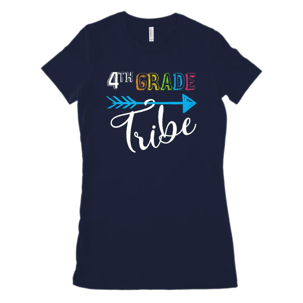 (Women's BC 6004 Soft Tee) 4th Grade Tribe Graphic Teacher Graphic T-Shirt Tee BOXELS