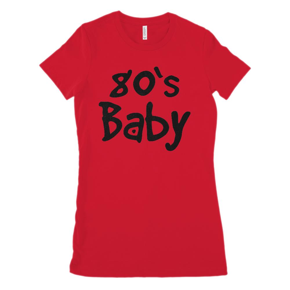 (Women's BC 6004 Soft Tee) 80's Baby (black font) - Made in Year Graphic T-Shirt Tee BOXELS