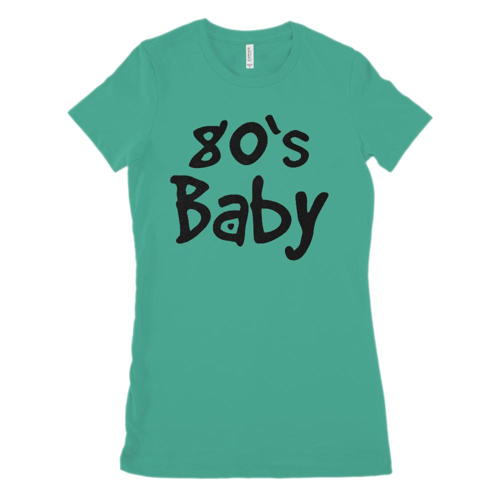 (Women's BC 6004 Soft Tee) 80's Baby (black font) - Made in Year
