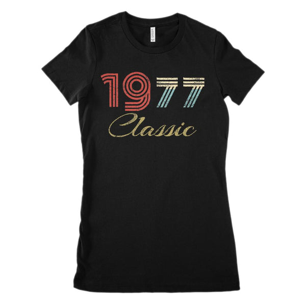 (Women's BC 6004 Soft Tee) Classic 1977 - Made in the Year (Size Up 1 to 2 !) Graphic T-Shirt Tee BOXELS