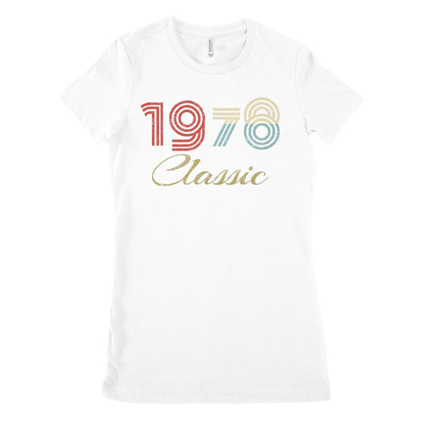 (Women's BC 6004 Soft Tee) Classic 1978 - Made in the Year (Size Up !!) Graphic T-Shirt Tee BOXELS