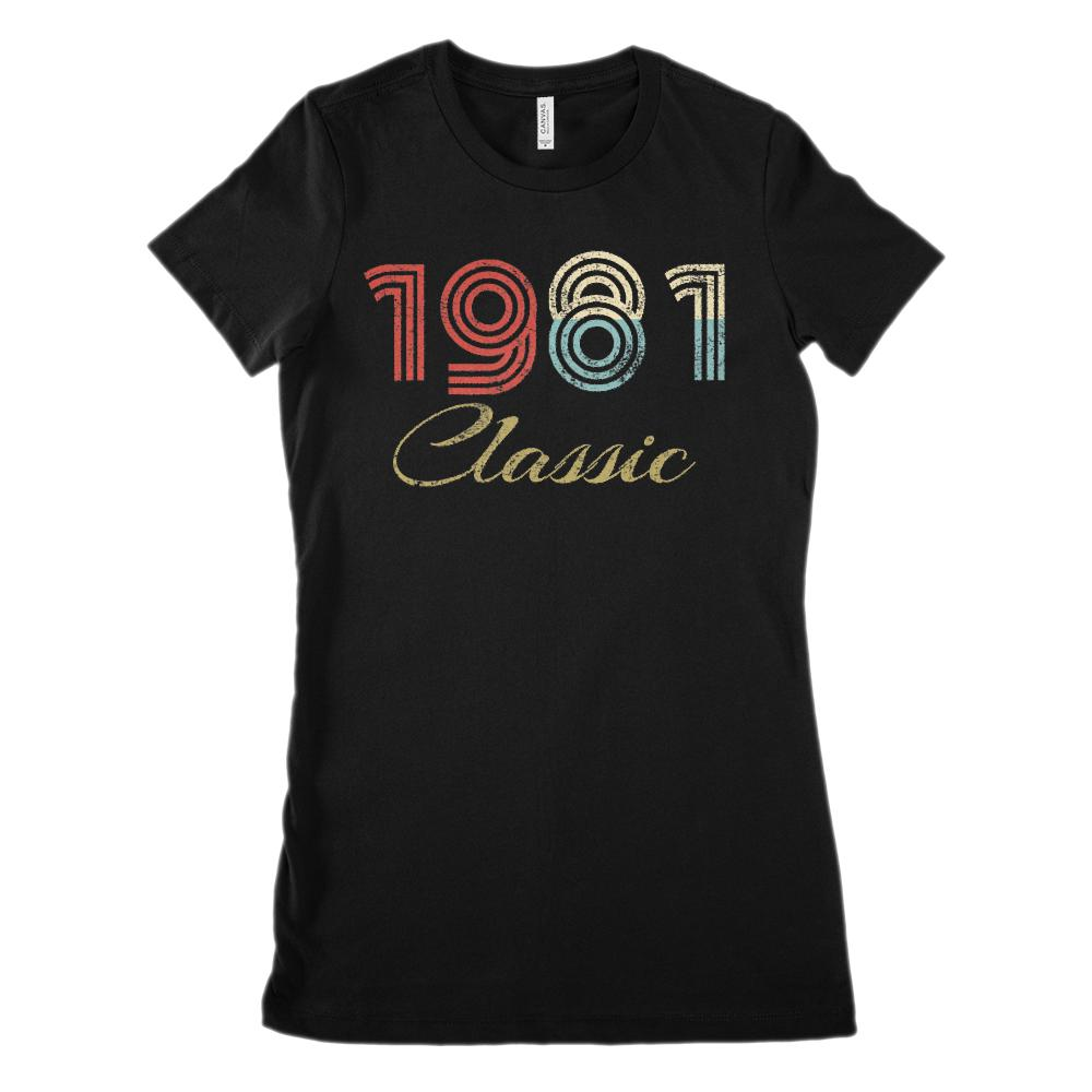 (Women's BC 6004 Soft Tee) Classic 1981 - Made in the Year (Size Up twice!) Graphic T-Shirt Tee BOXELS