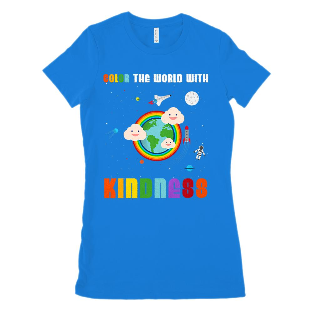 (Women's BC 6004 Soft Tee) Color the World With Kindness Teacher Soft Tee Graphic T-Shirt Tee BOXELS