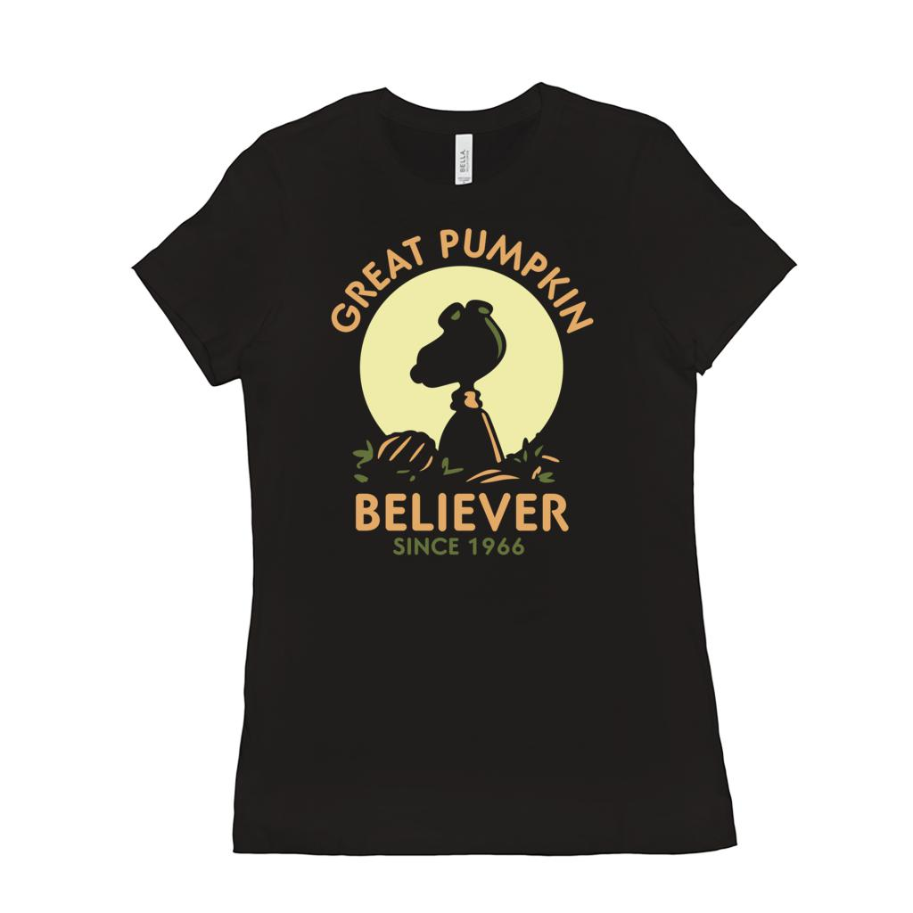 (Women's BC 6004 Soft Tee) Great Pumpkin Believer Since 1966 Silhouette (other Colors) Graphic T-Shirt Tee BOXELS