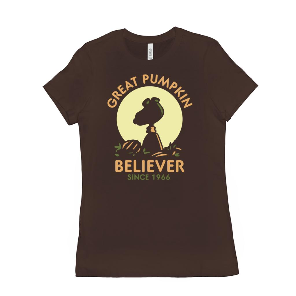 (Women's BC 6004 Soft Tee) Great Pumpkin Believer Since 1966 Silhouette (other Colors)