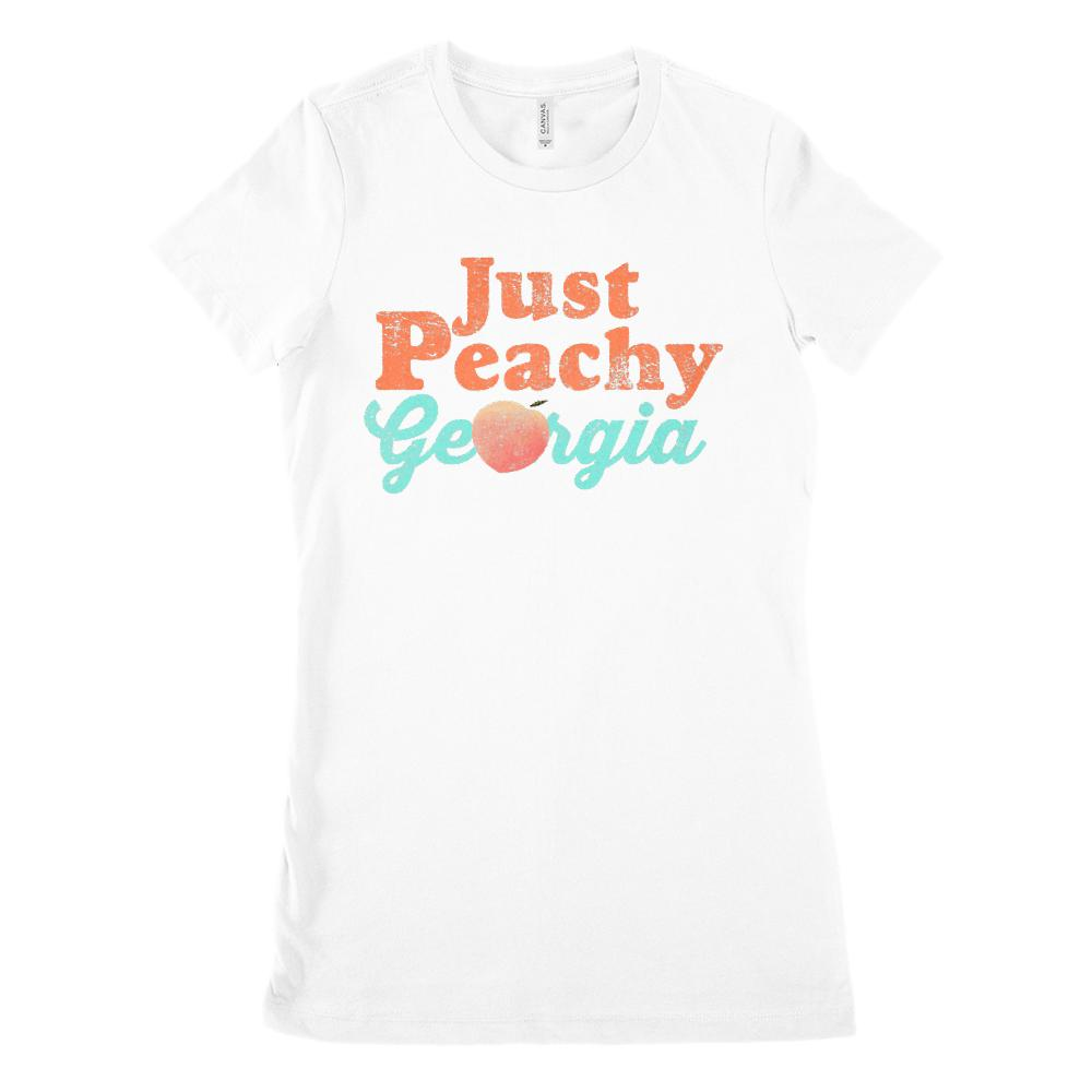 (Women's BC 6004 Soft Tee) Iconic State Scenery - Just Peachy Georgia Graphic T-Shirt Tee BOXELS