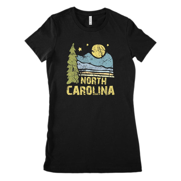 (Women's BC 6004 Soft Tee) Iconic State Scenery North Carolina Scenery Graphic T-Shirt Tee BOXELS