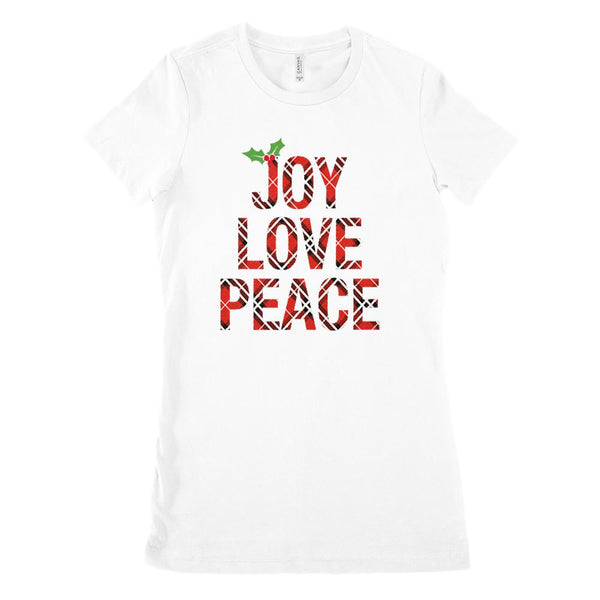 (Women's BC 6004 Soft Tee) Joy Love Peace Holly Berry Plaid Christmas Graphic T-Shirt Tee BOXELS