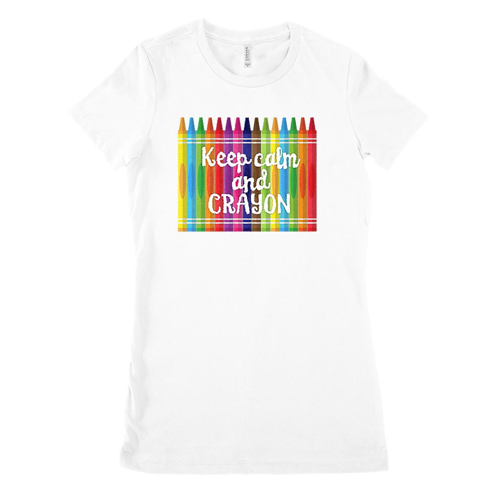 (Women's BC 6004 Soft Tee) Keep Calm and Crayon Graphic Teacher Graphic T-Shirt Tee BOXELS