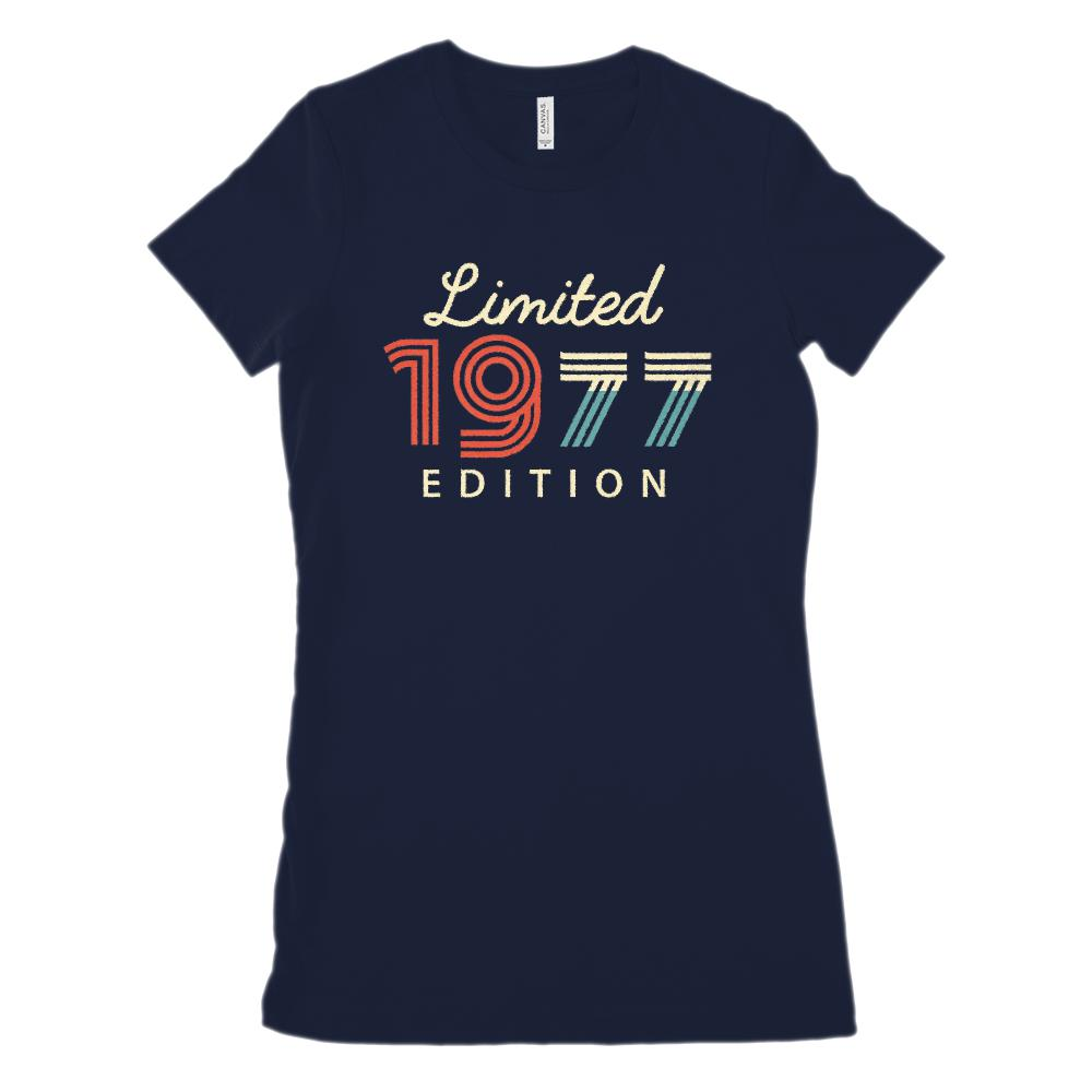 (Women's BC 6004 Soft Tee) Limited 1977 Edition (on Dark Tees) Made in Year Graphic T-Shirt Tee BOXELS