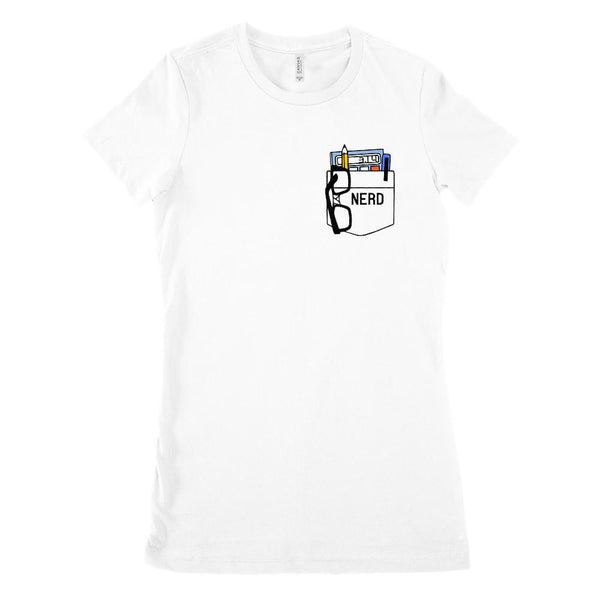 (Women's BC 6004 Soft Tee) Math Nerd Fake Pocket Graphic T-Shirt Tee BOXELS