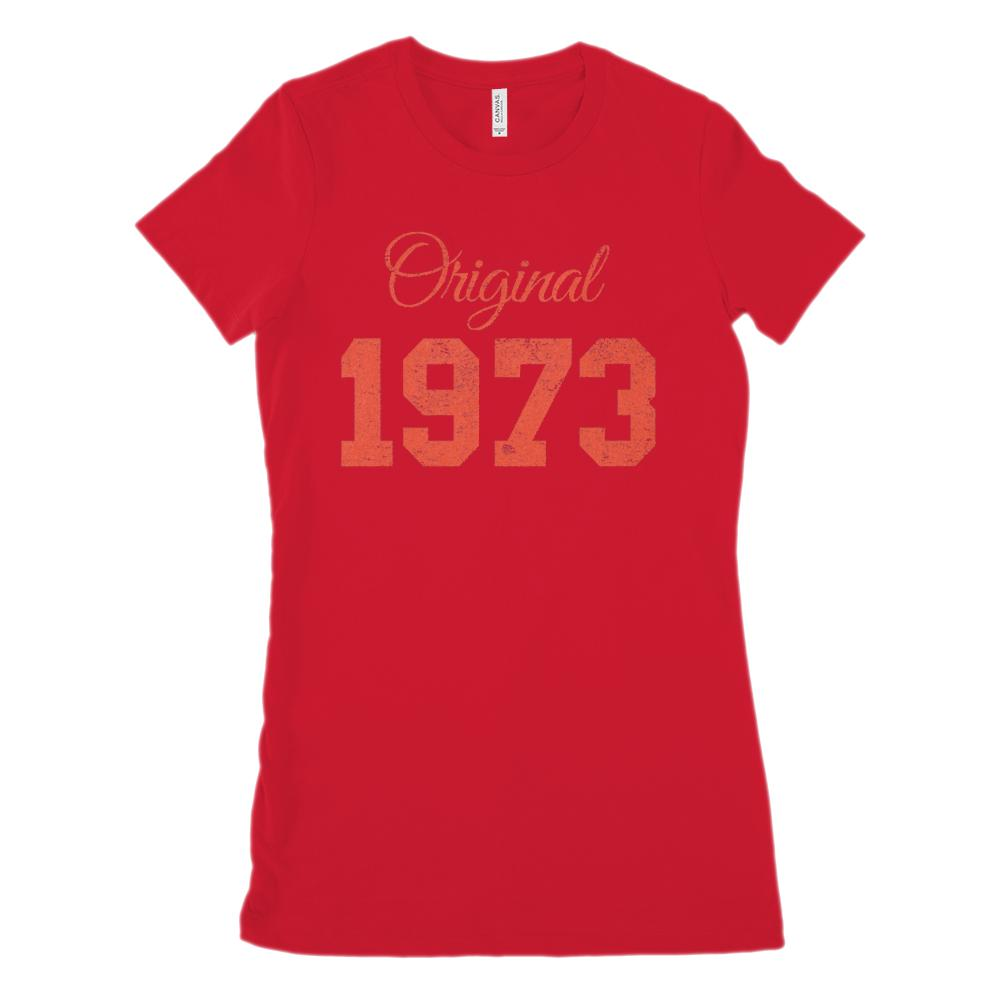 (Women's BC 6004 Soft Tee) Original 1973 Red - Made in the Year (Size up!) Graphic T-Shirt Tee BOXELS