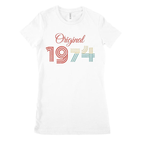 (Women's BC 6004 Soft Tee) Original 1974 - Made in the Year (Size up Twice!) Graphic T-Shirt Tee BOXELS