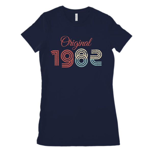 (Women's BC 6004 Soft Tee) Original 1982 - Made in the Year (Size Up!) Graphic T-Shirt Tee BOXELS
