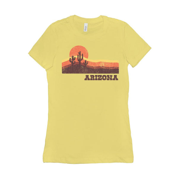 (Women's BC 6004 Soft Tee - Other Colors) Iconic State Scenery - Arizona Sunset Desert AZ Graphic T-Shirt Tee BOXELS
