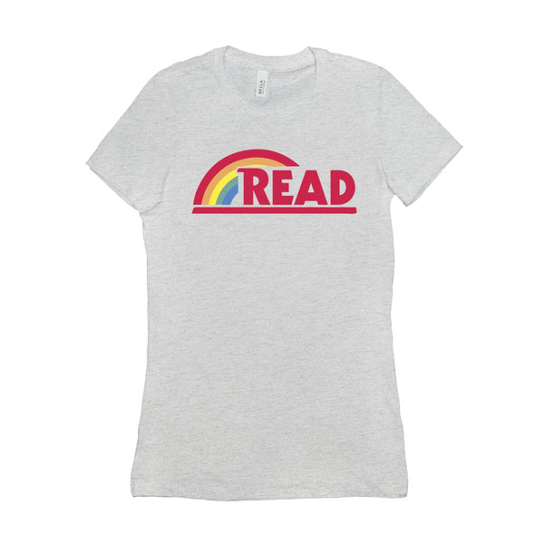 (Women's BC 6004 Soft Tee - Other Trendy Colors) Reading Rainbow Retro Teacher (Size up 2X!!) Graphic T-Shirt Tee BOXELS
