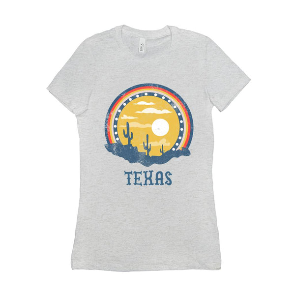 (Women's BC 6004 Soft Tee - others) Texas Sunset Cacti Graphic T-Shirt Tee BOXELS