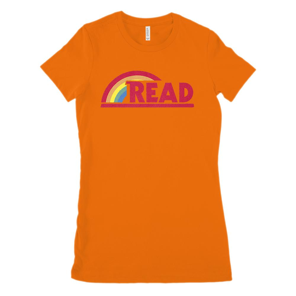(Women's BC 6004 Soft Tee) Reading Rainbow Retro Teacher (Size up 2X!!) Graphic T-Shirt Tee BOXELS