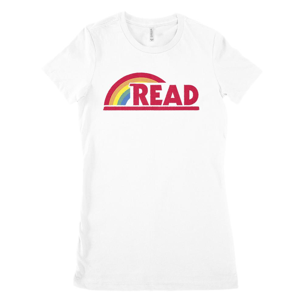 (Women's BC 6004 Soft Tee) Reading Rainbow Retro Teacher (Size up 2X!!)