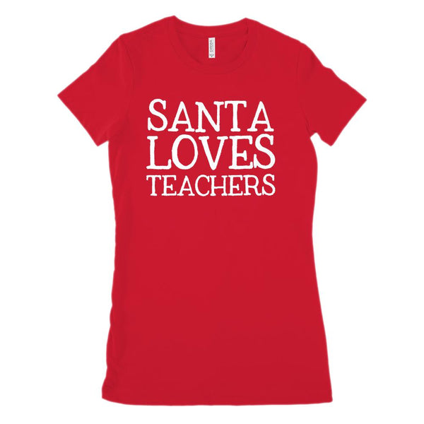 (Women's BC 6004 Soft Tee) Santa Loves Teachers Graphic T-Shirt Tee BOXELS