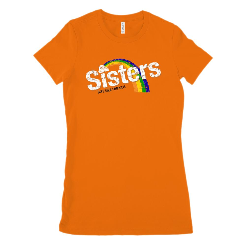 (Women's BC 6004 Soft Tee) Sisters Bite Size Friends Candy Parody (Size Up 2x) Graphic T-Shirt Tee BOXELS