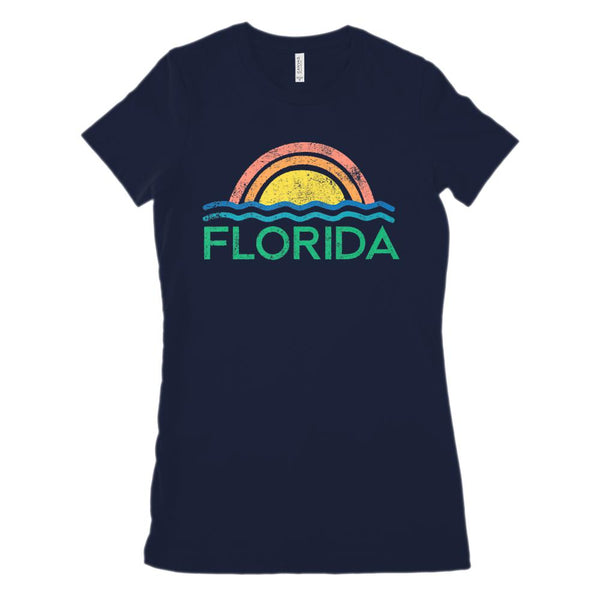 (Women's BC 6004 Soft Tee Size UP 2x!) Iconic State Scenery Florida Ocean Sunset Graphic T-Shirt Tee BOXELS