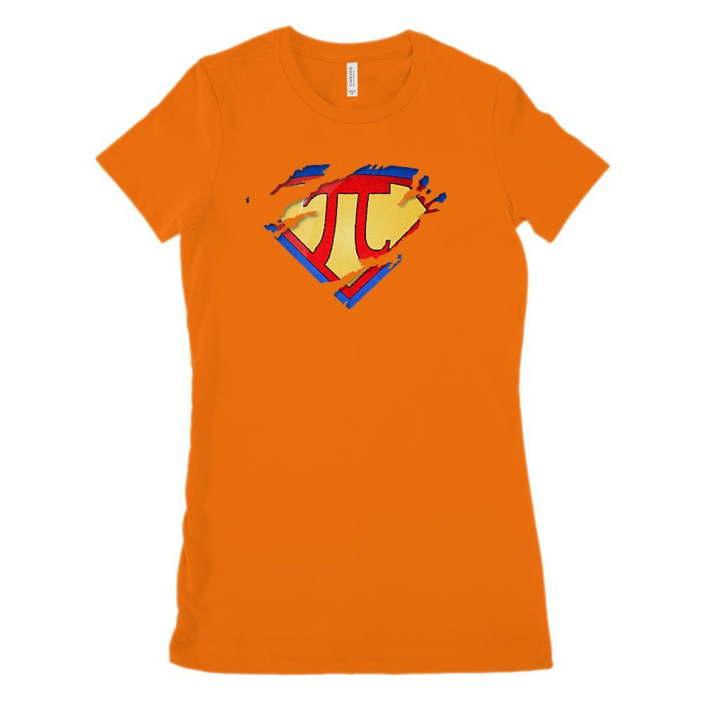 (Women's BC 6004 Soft Tee - Size up 2X!) Super Pi Ripped Hero Heroine Math Graphic T-Shirt Tee BOXELS