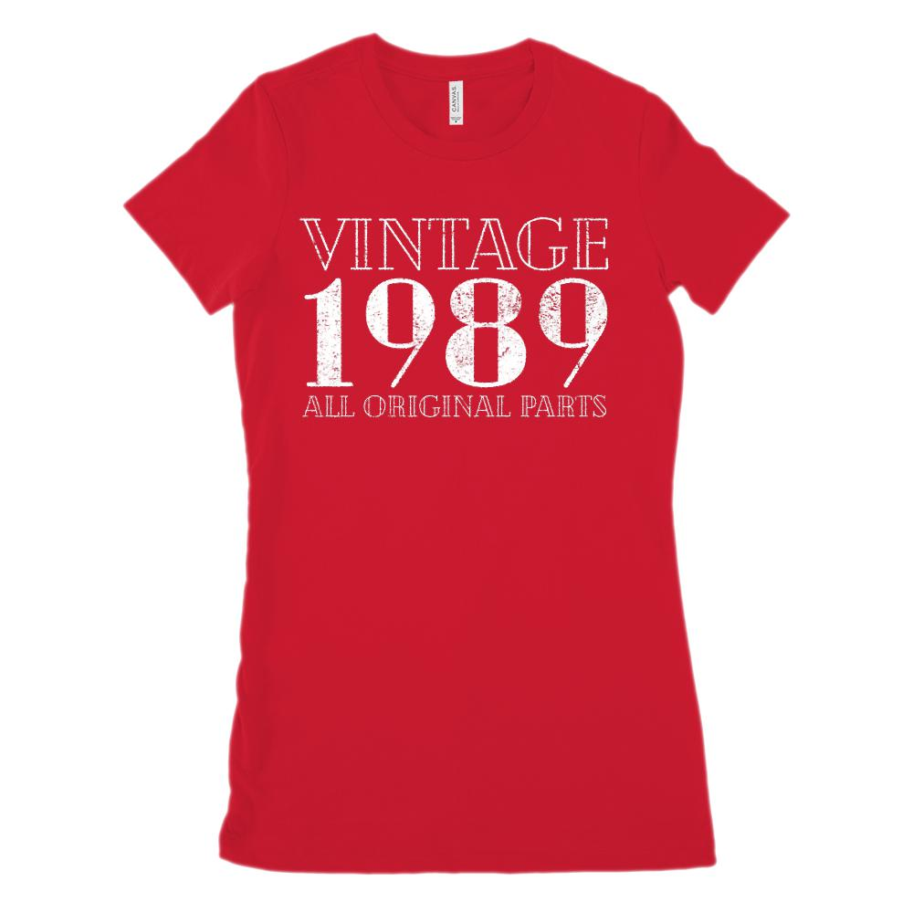 (Women's BC 6004 Soft Tee) Vintage All Original Parts 1989 - Made in Year Graphic T-Shirt Tee BOXELS