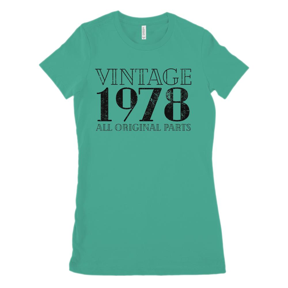 (Women's BC 6004 Soft Tee) Vintage All Original Parts Black 1978 - Made in Year (Size Up 2x!) Graphic T-Shirt Tee BOXELS