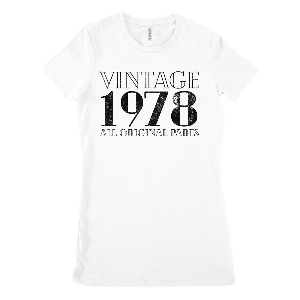 (Women's BC 6004 Soft Tee) Vintage All Original Parts Black 1978 - Made in Year (Size Up 2x!)