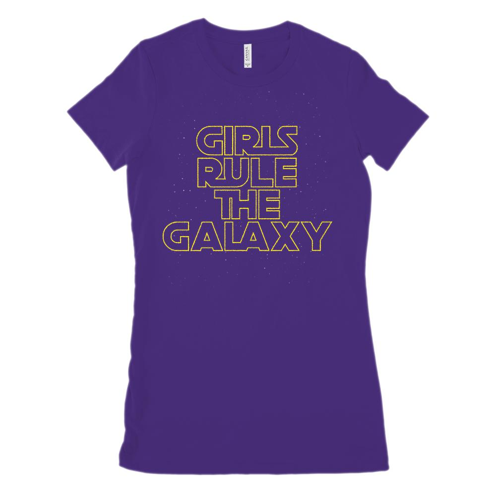 (Women's Bella Canvas 6004 Soft Tee) Girls Rule The Galaxy Space War Star Graphic T-Shirt Tee BOXELS