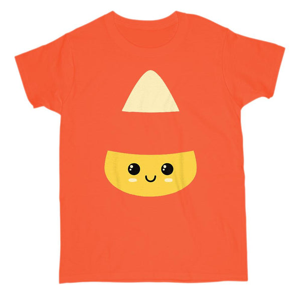 (Women's Gildan Cotton Tee) Candycorn Face Transparent Mid Graphic T-Shirt Tee BOXELS