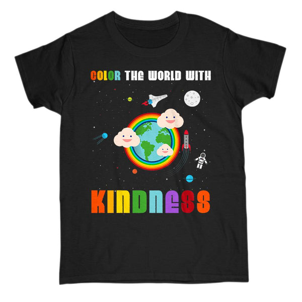 (Women's Gildan Cotton Tee) Color the World with Kindness Space Tee Graphic T-Shirt Tee BOXELS