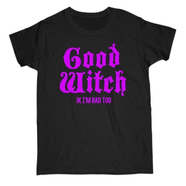 (Women's Gildan Cotton Tee) Good Witch (matching set) JK I'm Bad Too Purple Font Graphic T-Shirt Tee BOXELS