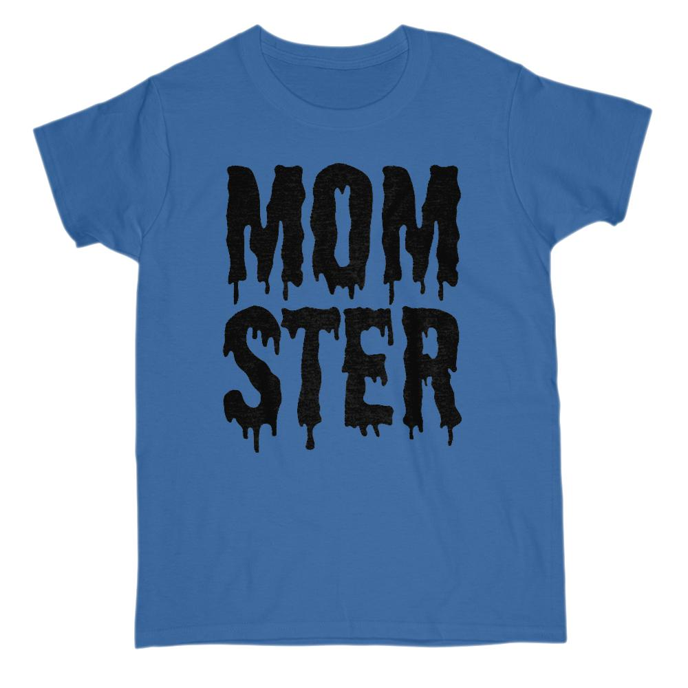 (Women's Gildan Cotton Tee) Momster (mom monster) Black Shlop Font Graphic T-Shirt Tee BOXELS