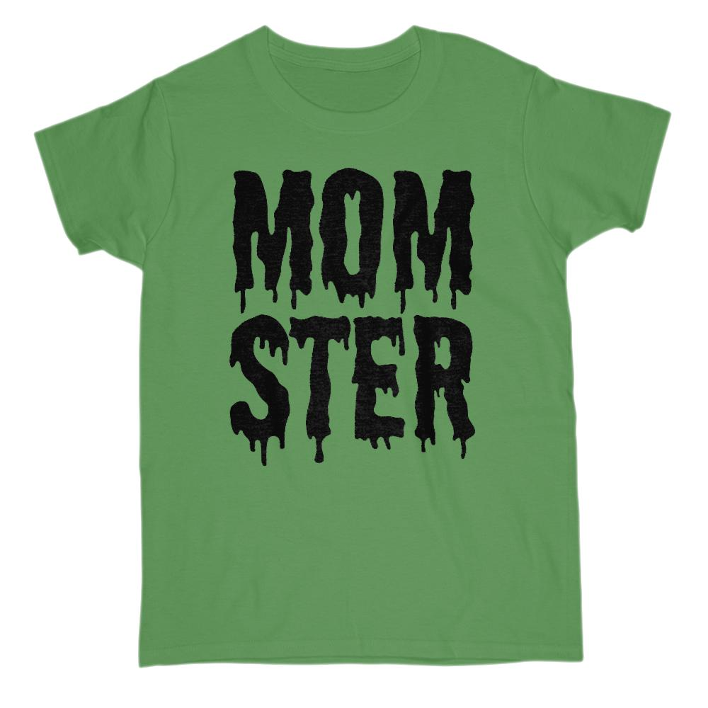 (Women's Gildan Cotton Tee) Momster (mom monster) Black Shlop Font