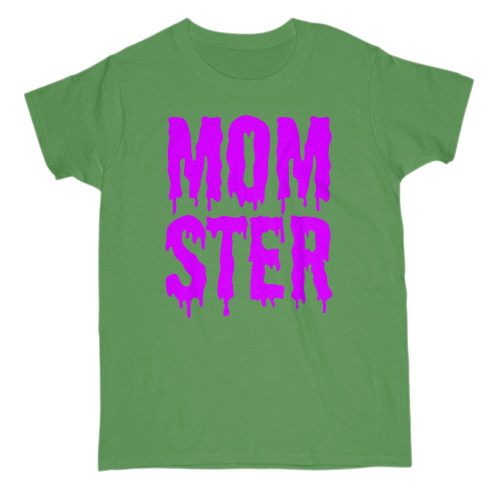 (Women's Gildan Cotton Tee) Momster (mom monster) Purple Shlop Font Graphic T-Shirt Tee BOXELS