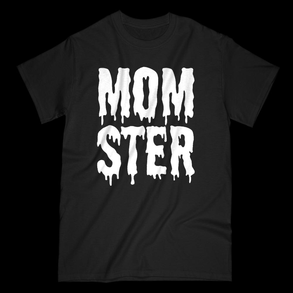 (Women's Gildan Cotton Tee) Momster (mom monster) White Shlop Font