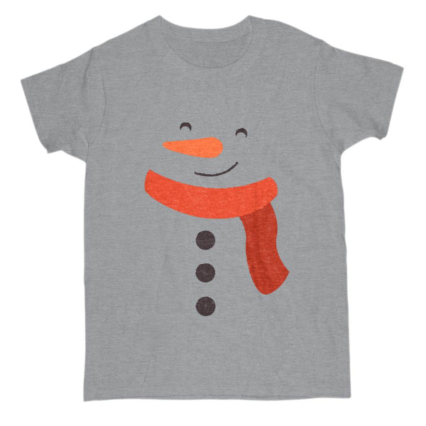 (Women's Gildan Cotton Tee) Snowman Face Body Snow on Gray Graphic T-Shirt Tee BOXELS
